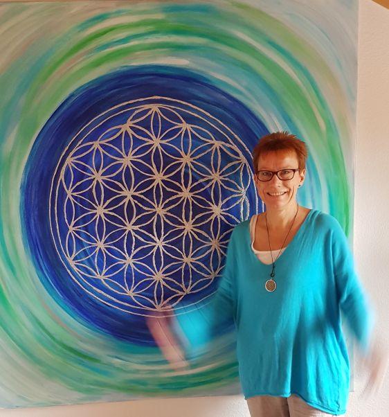 150 x 150 cm Lebensblumenbild Martina Kaufmann