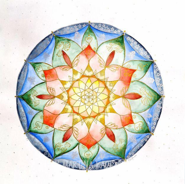"Lebensblumenbild ""Frieden auf Erden"", Aquarell, 40 x 40 cm"