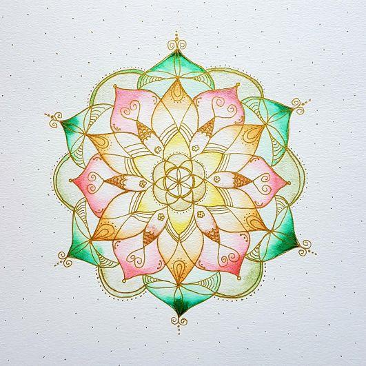 Lebensblumenbild Mandala, Aquarell