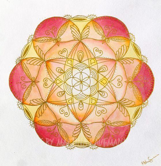 Lebensblumenbild Mandala, Aquarell 25,5 x 25,5 cm