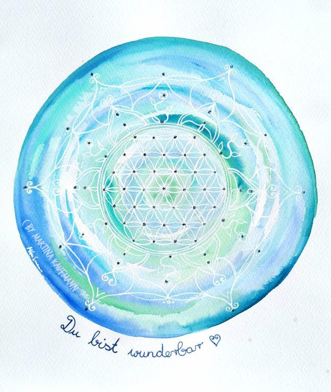 "Lebensblumenbild Aquarell "" Du bist wunderbar"" 23 x 30,5 cm"
