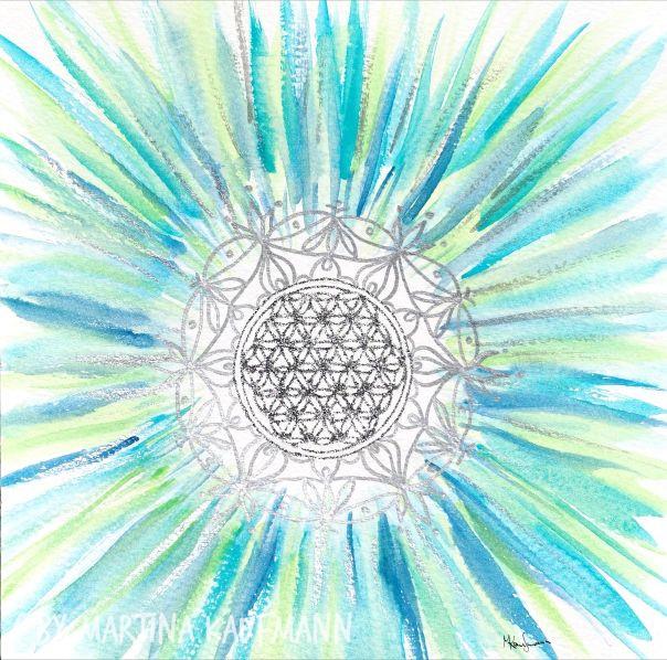 Lebensblumenbild Aquarell, 24x24 cm