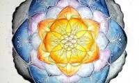 Sonnenuntergang Lebensblumenbild Mandala Aquarell