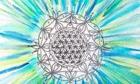 Lebensblumenbild Aquarell blau silber Kunst
