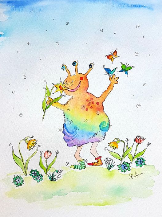Frühlingsmonster Aquarell