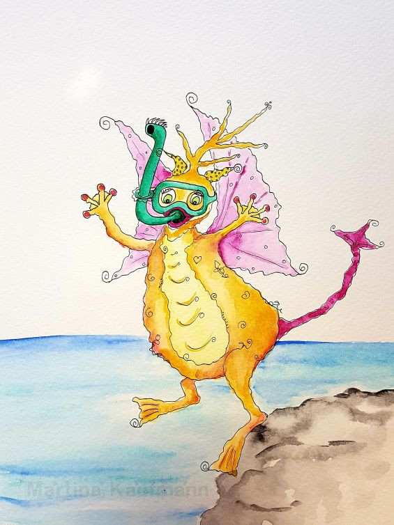 Tauchmonster Aquarellbild