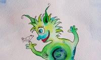 grünes Monster Aquarell