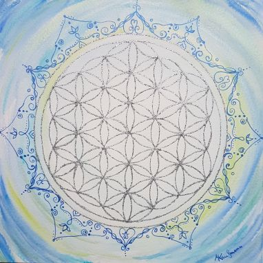 Lebensblumenbild mit Mandala Aquarell